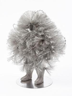 Walter Oltmann, Razor Brush Disguise, 2014, aluminum wire.  Goodman Gallery