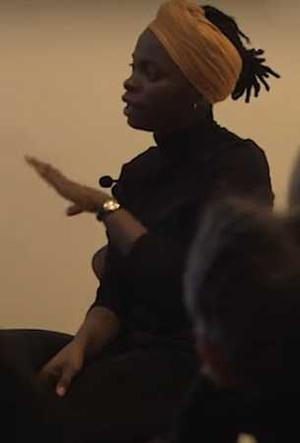 Toyin Odutola during interview at Jack Shainman Gallery. Gallery video screen shot