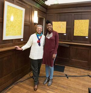 Monique Wells and Stanford University student Sojourner Ahébée who visited the 2016 Delaney exhibit in Paris and begins a 9-week internship with Wells' Foundation in Paris in July 2016. Photo: WIF