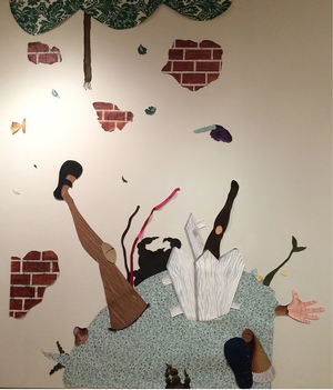 When The Bough Breaks mixed media collage installation 60 x 90 in.