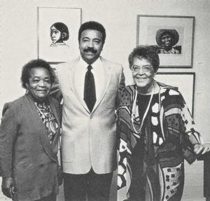 Samella Lewis, William R. Harvey and Elizabeth Catlett at Hampton University Museum, 1993. Photo: Reuben Burrell