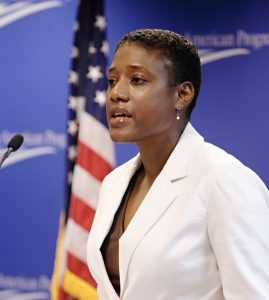Cassandra Q. Butts speaking at the Center for American Progress program on Medicare on July 10, 2007. Photo: CAP