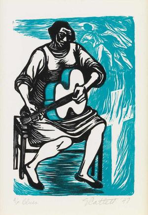 Elizabeth Catlett, I Have Given the World My Songs, color linocut in color, 1947.Art © Elizabeth Catlett estate/Licensed by VAGA, New York, NY