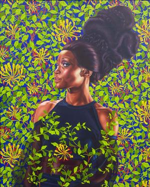 "Kehinde Wiley, Shantavia Beale II, 2012. Oil on canvas, 60 x 48"" Collection of Ana and Lenny Gravier. © Kehinde Wiley. Photo: Jason Wyche, courtesy of Sean Kelly, NY"