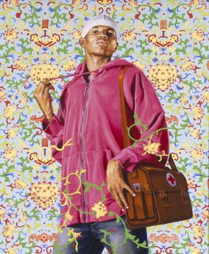 "Kehinde Wiley, Support the Rural Population and Serve 500 Million Peasants, 2007. Oil and enamel on canvas,72 x 60"" 21C Museum, Louisville, KY.© Kehinde Wiley. Photo: Max Yawney, courtesy of Roberts & Tilton, Culver City, CA"