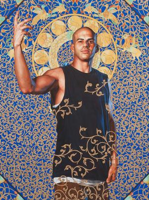 "Kehinde Wiley, Leviathan Zodiac, 2011. Oil and gold enamel on canvas, 953⁄4 x 713⁄4"" Collection of Blake Byrne. Courtesy of Roberts & Tilton, Culver City, CA. © Kehinde Wiley. Photo: Robert Wedemeyer, courtesy of Roberts & Tilton"