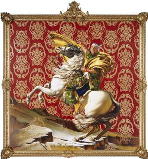 "Kehinde Wiley, Napoleon Leading the Army over the Alps, 2005. Oil on canvas, 108 x 108"" Collection of Suzi and Andrew B. Cohen © Kehinde Wiley. Photo: Sarah DeSantis, Brooklyn Museum"