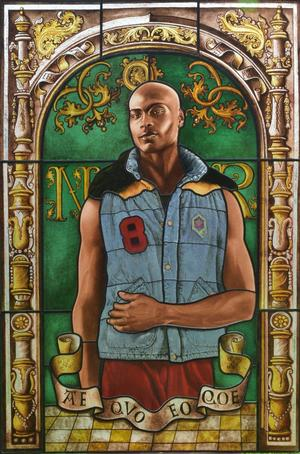 "Kehinde Wiley, Arms of Nicolas Ruterius, Bishop of Arras, 2014. Stained glass, 54 x 361⁄2."" Courtesy of Galerie Daniel Templon, Paris © Kehinde Wiley"