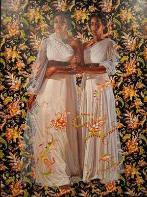 "Kehinde Wiley, The Two Sisters, 2012. Oil on linen, 96 x 72"" Collection of Pamela K. and William A. Royall, Jr. Courtesy of Sean Kelly, New York. © Kehinde Wiley. Photo: Jason Wyche, courtesy of Sean Kelly"