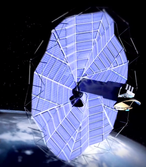 Spacecraft created from origami design. Still from Howell & Magleby video