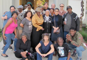 A performane ensemble of the Los Angeles Poverty Department and the Skid row community. Photo: LAPD