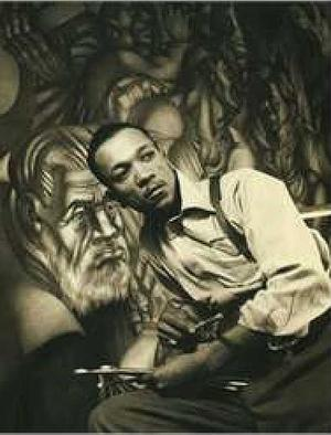 Charles White with mural, c. 1939-40, Chicago