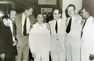 Charles White (far left) at unveiling of the Contribution of the Negro to Democracy in America mural at Hampton, with (l-r) Harry Sternberg; James Herring, chairman Howard University art department; Victor Lowenfeld, art professor, Hampton; Hans van Werren-Griek, Virginia Museum of Fine Arts; and artist Hale Woodruff. Photo: Hampton University Museum & Archives