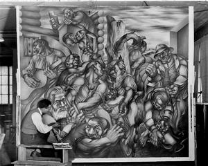 Charles White working on mural. WPA photo in Chicago Public Library, Special Collections and Preservation Division