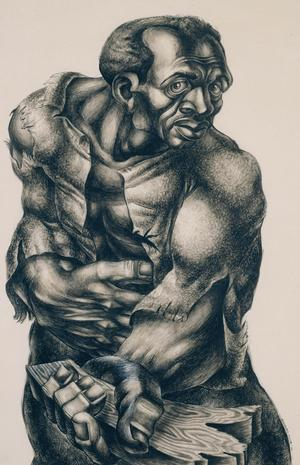 Charles White, Native Son, 1942, ink on paper  © The Charles White Archives