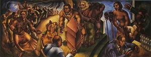 "Charles White, Five Great American Negroes, 1939, oil on canvas, 5 x 12' 11"", Howard University Gallery of Art"