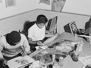 Painting Class at South Side Community Art Center, 1942.  Photo: Jack Delano. Library of Congress Prints & Photographs Division