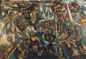 "Charles White, Contribution of the Negro to Democracy in America, 1943, egg tempera, 11'9"" x 17'3"",  Hampton University"