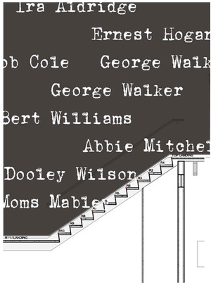 Detail from Gary Simmons's rendering for his stairwell installation, a listing of early black stage performers