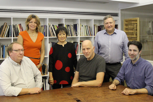 From left: Charlie Young, IDEA; Dina Griffin, IDEA: Billie Tsien, TWBTA; Tod Williams, TWBTA; Bob Larsen, IDEA; Paul Schulhof, TWBTA. Photo: Obama Foundation