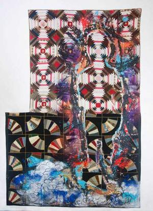 Sanford Biggers, Shepard, 2015, glitter, tar, acrylic, spray paint, assorted textiles, antique quilts, 119 x 79 in