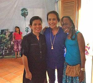Sana Musasama (right) with Somaly Mam (center) and Sylor Lin, the formerly enslaved co-founder of the shelter