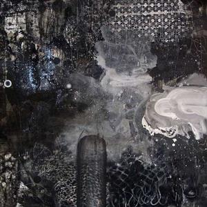 David Huffman, Dark Logic, 2015, acrylic, oil, spray paint, glitter, graphite, printing ink on wood panel, 60 x 60 in. Roberts and Tilton Gallery