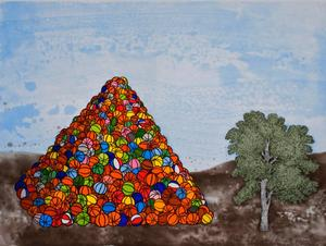 Basketball Pyramid, 2007, color aquatint, spitbite, sugarlift, softground and hardground etching, 37.5 x 45 in. Paulson Bott Press