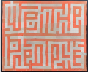 Hank Willis Thomas, We The People, 2015. Quilt made out of decommissioned prison uniforms, 73 1/4 x 88 1/4