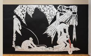 Blood Catcher, 2016, paper cut wall installation 87 x 120 in.