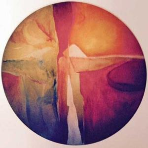 "Reaching for Center, 1970, oil and mixed media on canvas, 58"" round"