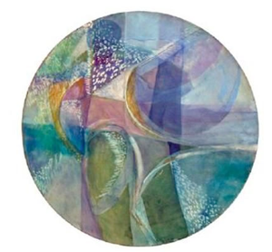 "In Search of Grace, 2007, acrylic and mixed media on canvas, 30"" round"
