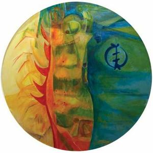"In Search of the Gap, 2007, acrylic and mixed media on canvas, 36"" round"